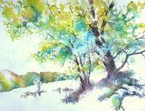 Aquarellmalerei, Buch, Herbst, Baum