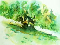 Aquarellmalerei, Rhön, Buch, Baum