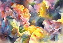 Hortensien, Blumen, Aquarellmalerei, Aquarell