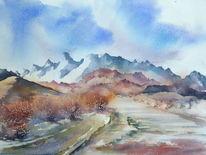 Aquarellmalerei, Westen, Landschaft, Usa landscape