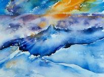 Aquarellmalerei, Landschaft, Island, Aquarell