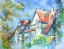 Coburg, Aquarellmalerei, Jugendstil, Alexandrinenstraße