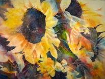 Sonnenblumen, Aquarellmalerei, Gelb, Aquarell