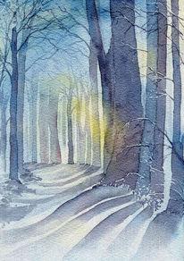 Allee, Winter, Licht, Schnee