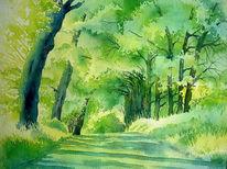 Grün, Aquarellmalerei, Baum, Sommer