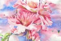 Almondre, Frühling, Blüte, Aquarellmalerei