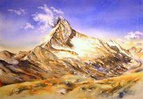 Aquarellmalerei, Berge, Alpen, Schweiz