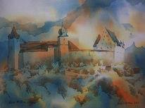 Veste coburg, Aquarellmalerei, Oberfranken, Burg