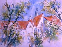 Aquarellmalerei, Amtsgebäude, Oberfranken, Franken