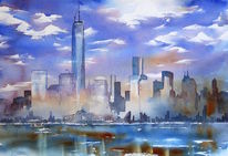 New york, One world center, Aquarellmalerei, Nyc