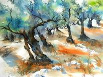 Spanien, Mallorca, Aquarellmalerei, Olive grove
