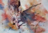 Aquarellmalerei, Katze, Kater, Prowl