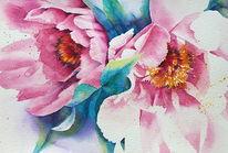 Frühling, Pfingstrose, Aquarellmalerei, Blumen