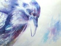 Rabe, Aquarell ravenheart, Vogel, Aquarellmalerei