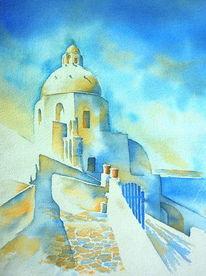 Aquarellmalerei, Blau, Santorin, Griechenland