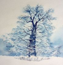 Kahl, Baum watercolour, Aquarellmalerei, Eichen