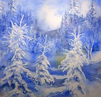 Winter, Schneebedeckt, Baum, Wald