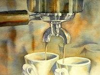 Siebträger, Kaffee, Espresso machine, Aquarellmalerei