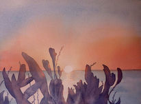 Sonnenuntergang, Aquarellmalerei, Algarve, Odeceixe
