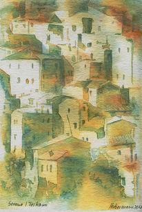 Aquarellmalerei, Italien, Haus, Sorano