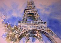 Aquarellmalerei, Tour eiffel, Eiffelturm, Paris