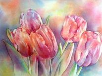 Aquarellmalerei, Blumen, Lila, Rot