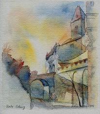 Burg, Bulgarenturm, Aquarellmalerei, Coburg