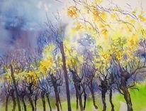 Weinblätter, Aquarellmalerei, Weinberg, Herbstlicht