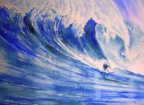 Atlantik, Aquarellmalerei, Sport, Surfen