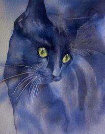Schnurrhaare, Aquarellmalerei, Katze, Schwarze katze