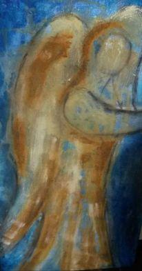 Rost, Blau, Acrylmalerei, Engel