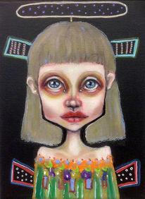 Mädchen, Minimalistisch, Kleines format, Malerei