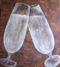 Champagner, Immer volles glas, Malerei