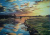Wald, Fluss, Malerei, Sonne