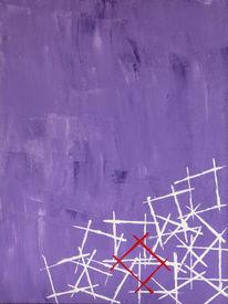 Acrylmalerei, Malerei sonstiges, Rot, Weiß