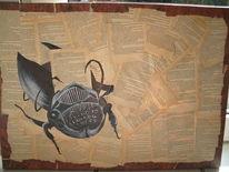 Käfer, Schreibmaschine, Collage, Acrylmalerei