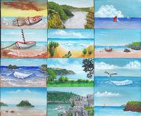 Acrylmalerei, Insel, Schiff, Küstenlandschaft