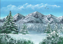 Berge, Winterlandschaft, Malerei, Winter
