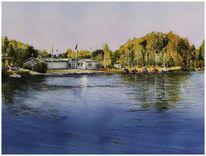 Kapbuschsee, Aquarellmalerei, Hückelhoven, Lago laprello