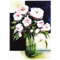 Pfingstrosen, Blumen, Malerei,