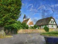 Elsass, Dorf, Landschaft, Digitale kunst