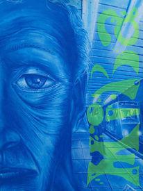 Acrylmalerei, Mann, Stadt, Landschaft