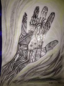 Kohlezeichnung, Kreide, Zeichnung, Hand