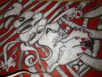 Surreal, Linie, Fantasie, Kohlezeichnung