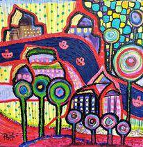 Farben, Formen, Fluss, Acrylmalerei