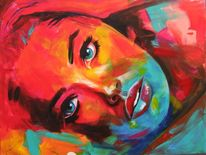 Doutzen kroes, Beautiful face, Acryluntermalung, Abstrakte malerei