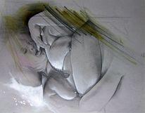 Zeichnung, Skizze, Portrait, Mischtechnik
