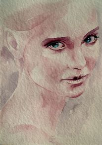 Portrait, Kind, Aquarellmalerei, Kinderportrait