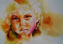 Best of watercolor, Gesicht, Portrait, Portrait in aquarell