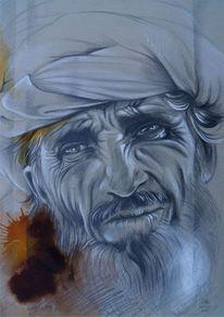 Indianerportrait, Portrait, Bleistiftzeichnung, Mischtechnik